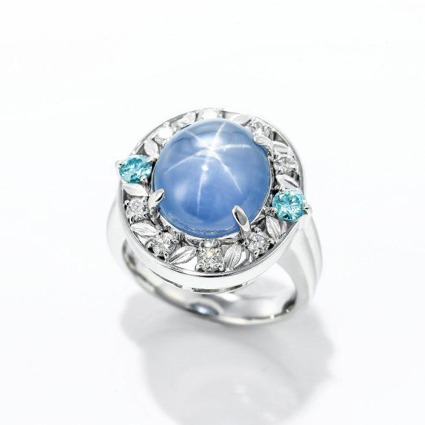 スターサファイアとアクアマリンのダイヤモンドリング 04