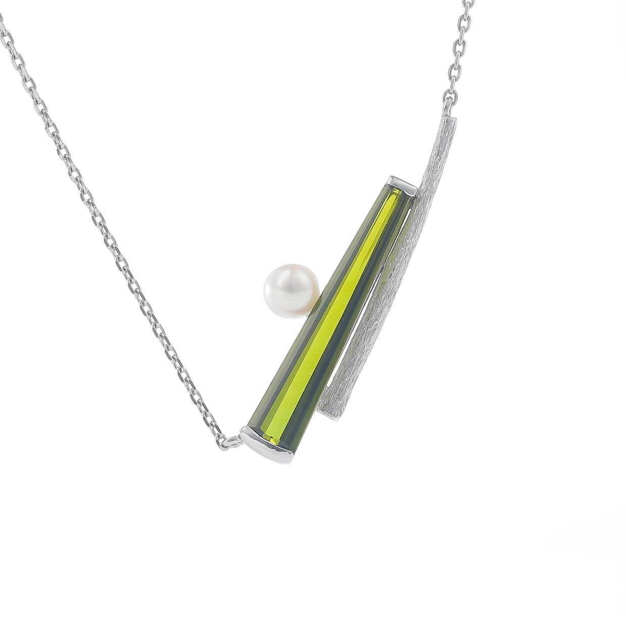 トルマリンとパール(真珠)のネックレス 01
