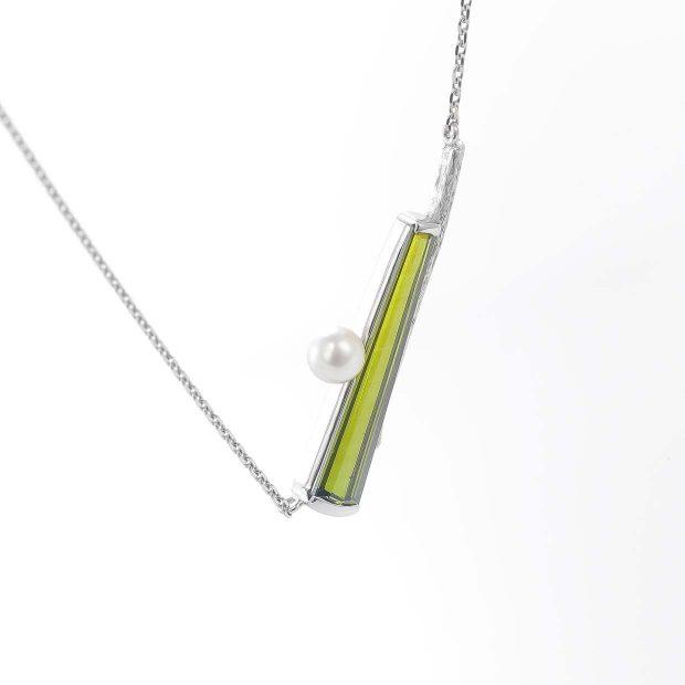 トルマリンとパール(真珠)のネックレス 04