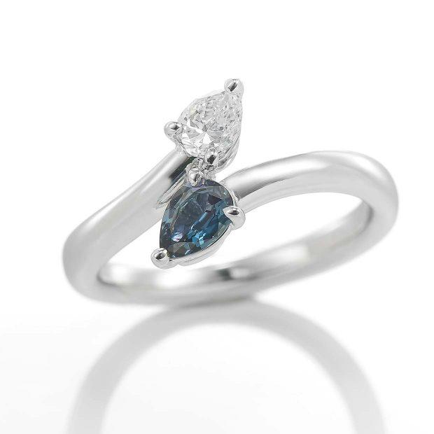アレキサンドライトとダイヤモンドのリング 04