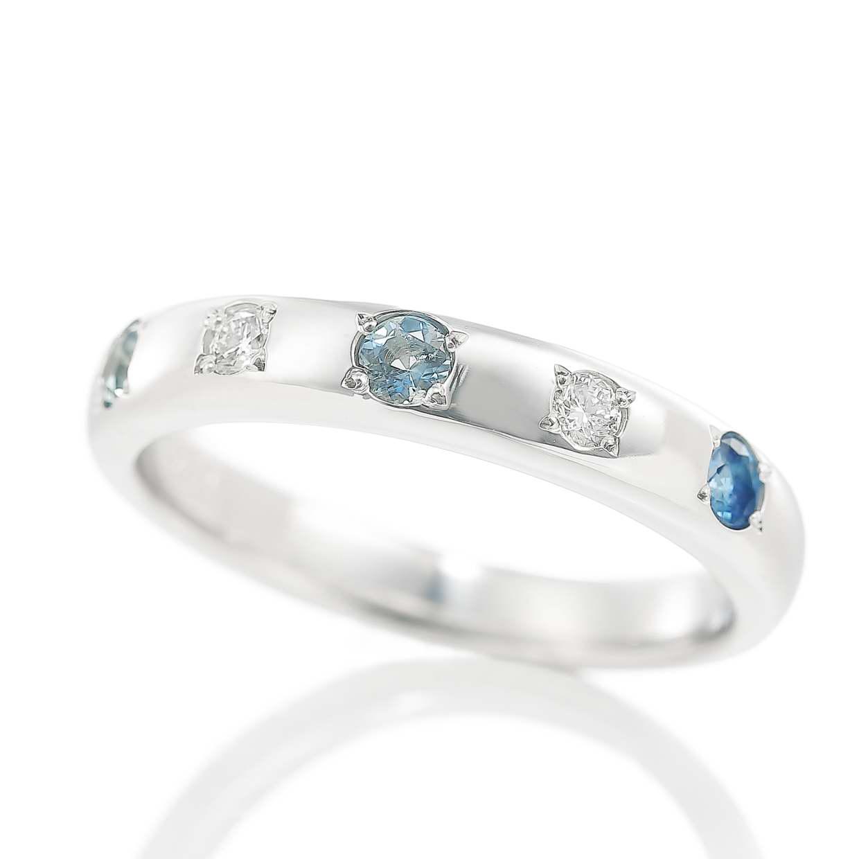 アクアマリンとダイヤモンドのリング 01