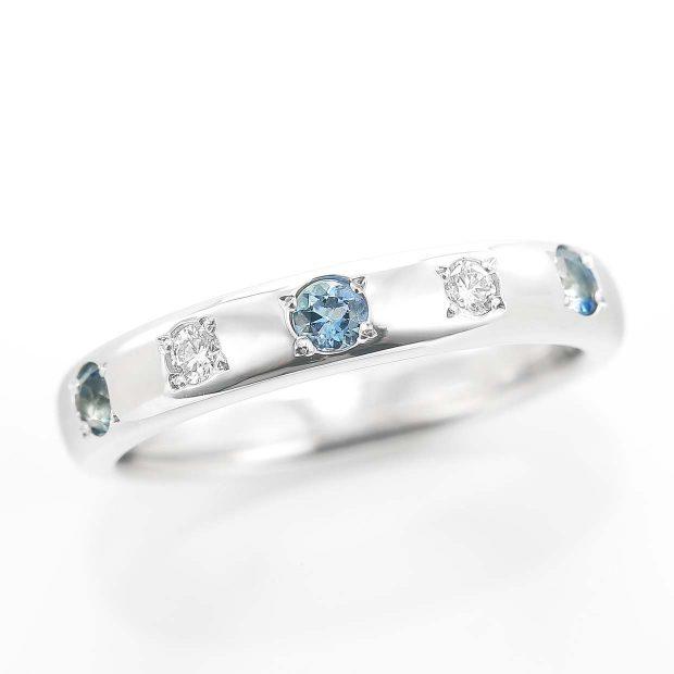 アクアマリンとダイヤモンドのリング 04